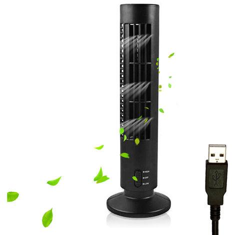 Ventilador electrico USB, ventilador vertical de aire acondicionado, negro