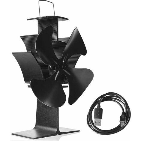 Ventilador Estufa de 4 Palas Ventilador de Chimenea de Leña Quemador Negro