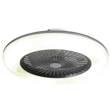 Ventilador plafon led SEVILLA niquel-blanco, 7 aspas con mando a distancia AkunaDecor