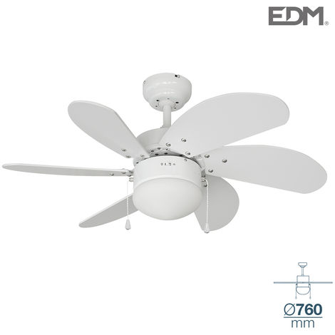 Ventilador techo modelo aral Blanco Ø76cm EDM 80m3/min
