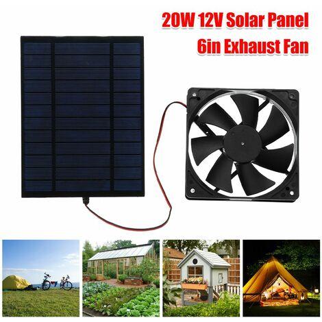 Ventilateur alimenté par panneau solaire 20W 6 pouces Mini Ventilatorl DIY Ventilateur d'extraction de panneau solaire Rechargeable Portable