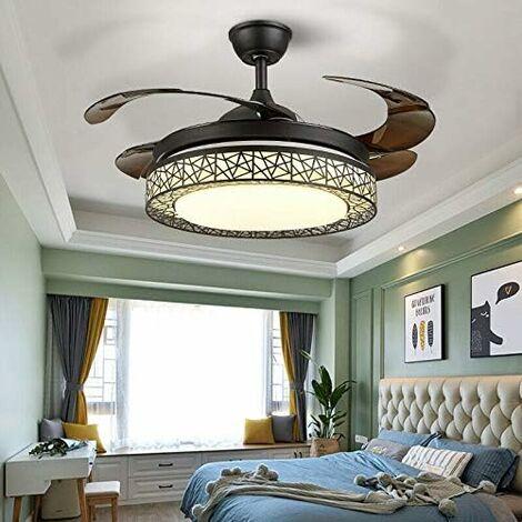 Ventilateur au Plafond Lumière Lampe LED Intégré 42'' Ventilateur avec Réglage de Vitesse& Contrôle à Distance ABS Lame Invisible pour Salon Chambre Restaurant