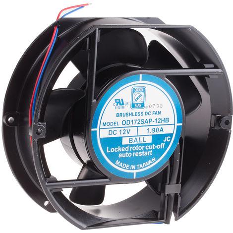 Ventilateur axial RS PRO 12 V c.c., 172 x 51mm, 230cfm, 23W, Dia. 172mm