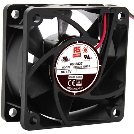 Ventilateur axial RS PRO 12 V c.c., 60 x 60 x 25mm, 23cfm, 2.8W