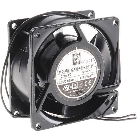 Ventilateur axial RS PRO 230 V c.a., 80 x 80 x 38mm, 25cfm, 12W