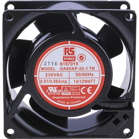 Ventilateur axial RS PRO 230 V c.a., 80 x 80 x 38mm, 30cfm, 12W