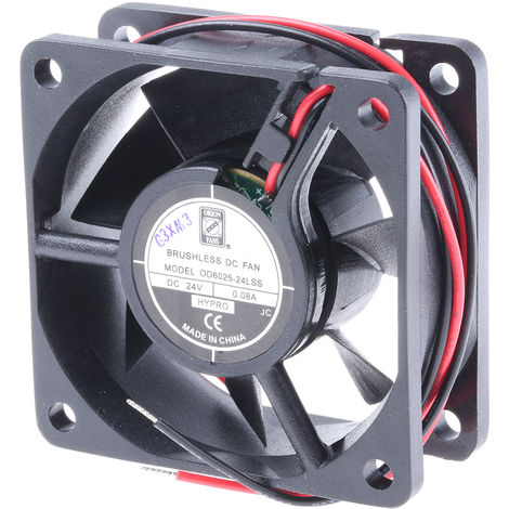 Ventilateur axial RS PRO 24 V c.c., 60 x 25 x 60mm, 13cfm, 1W