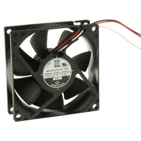 Ventilateur axial RS PRO 24 V c.c., 80 x 80 x 25mm, 40cfm, 2.41W