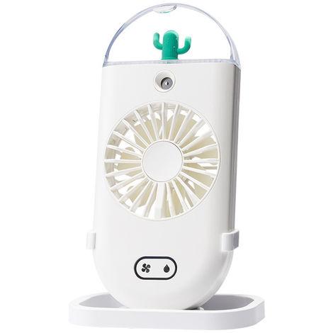 Ventilateur Brumisateur, Avec Humidificateur De Refroidissement, Veilleuse Coloree, 3 Vitesses, Blanc