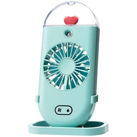 Ventilateur Brumisateur, Avec Humidificateur De Refroidissement, Veilleuse Coloree, 3 Vitesses, Vert