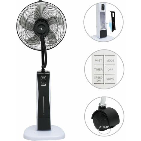 Ventilateur brumisateur sur pied et télécommande Noir et blanc