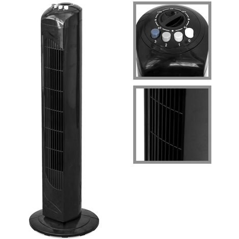 Ventilateur colonne noir 50 W avec minuterie et 3 vitesses oscillant 2630