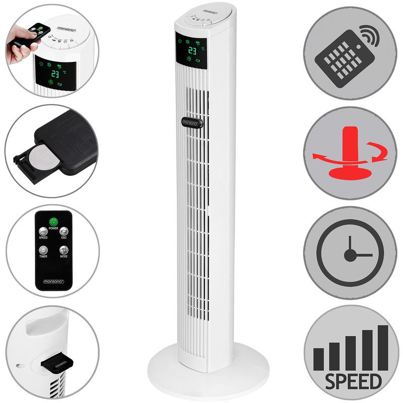 ventilateur colonne oscillant avec t l commande fonction. Black Bedroom Furniture Sets. Home Design Ideas