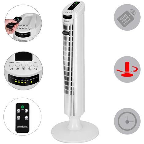 Ventilateur colonne oscillant blanc - Turbo fonction - 3 vitesses de ventilation