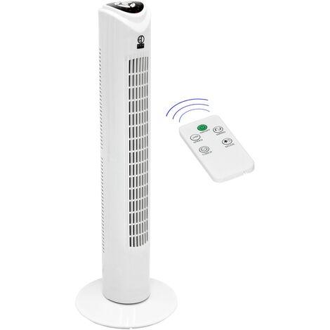 Ventilateur colonne sur pied oscillant minuterie 81cm blanc 45W + télécomande