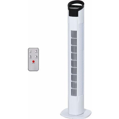 """main image of """"Ventilateur colonne tour oscillant 50 W silencieux télécommande incluse minuterie 3 modes 3 vitesses blanc noir - Blanc"""""""