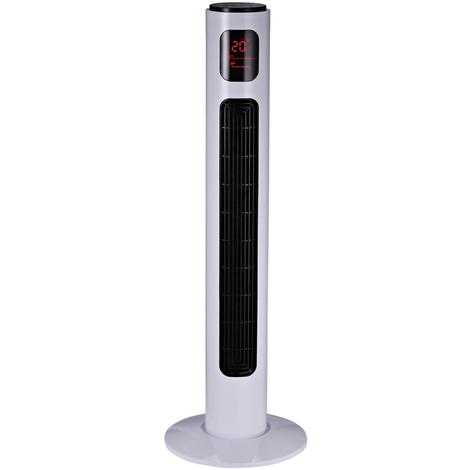 Ventilateur colonne tour programmable oscillant silencieux 45 W avec télécommande écran affichage minuterie 3 modes 3 vitesses 32L x 32l x 96H cm blanc noir