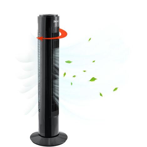Ventilateur Colonne Ventilateur Tour 3 Vitesse Fonction Oscillation avec Télécommande Plastique Noir 50W 73 x 22 x 22 cm