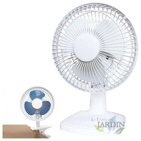 Ventilateur de bureau ou de clip de 6 po, blanc à 2 vitesses