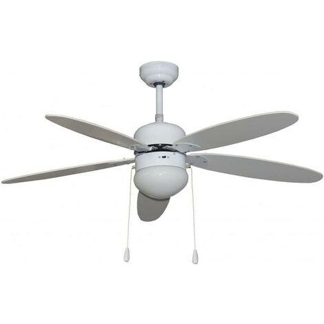 Ventilateur de climatisation de plafond avec lumi�re 50W-3 vitesses 5 pales 130Cm blanc Segin Vivahogar Vh104583