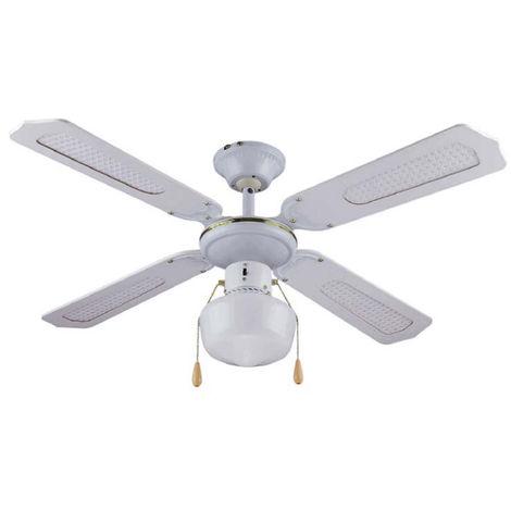 Ventilateur de plafond 4 pales en bois 1 ampoule 105 cm blanc DA54012