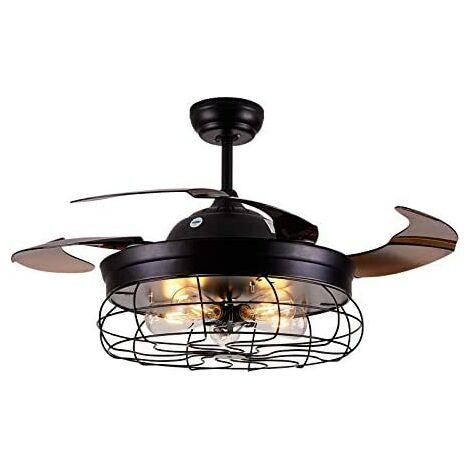 Ventilateur de Plafond 42'' Ventilateur Plafonnier avec Télécommande Ventilateur de Plafond avec Lampe et Télécommande Ventilateur avec Lampe