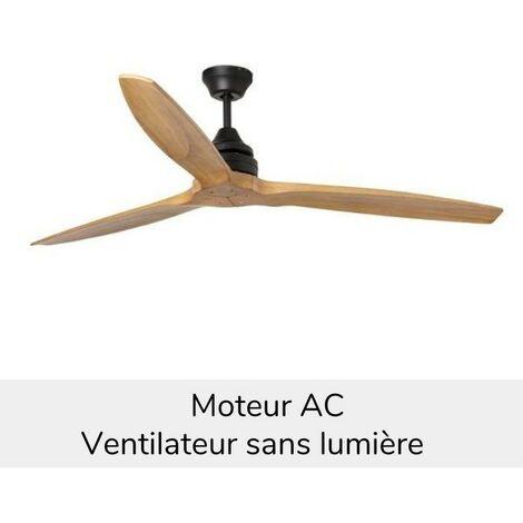 Ventilateur de plafond ALO - Lames en bois de pin brun