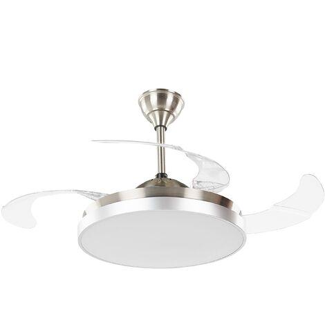 Ventilateur de plafond argenté et transparent avec lampe IBAR