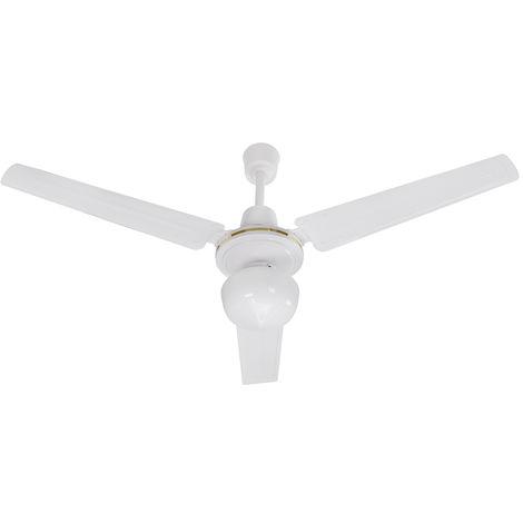 Ventilateur de plafond avec 3 pales et 1 ampoule couleur blanc 120 cm DA54009