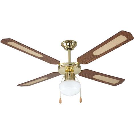 Ventilateur de plafond avec 4 pales en bois noyer 1 ampoule 130 cm DA54011