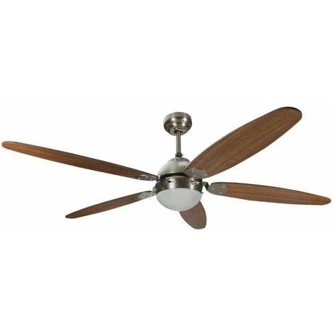 Ventilateur de plafond avec éclairage 5 pales marron 60w