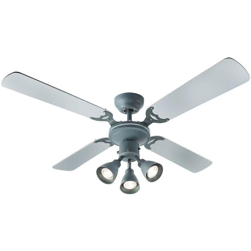 Ventilateur de plafond à LED avec lampe, feuille d'argent, D 106,6 cm HARVEY