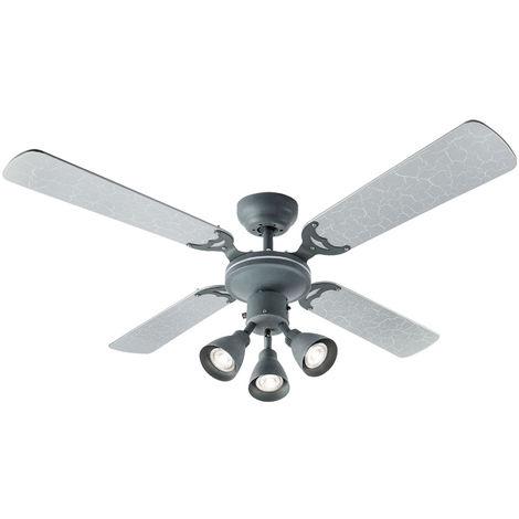 Ventilateur de plafond avec éclairage, feuille d'argent, D 106,6 cm HARVEY