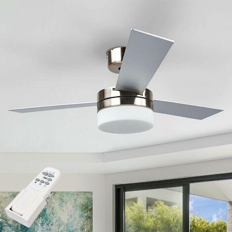 Ventilateur de plafond avec lampe 'Alvin' en bois pour salon & salle à manger