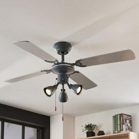 Ventilateur de plafond avec lampe 'Anneke' en métal pour chambre à coucher