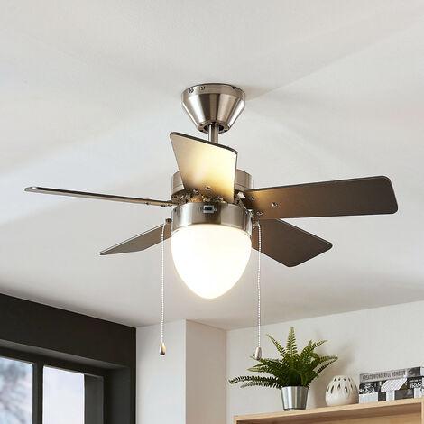 Ventilateur de plafond avec lampe 'Ante' en bois pour chambre à coucher