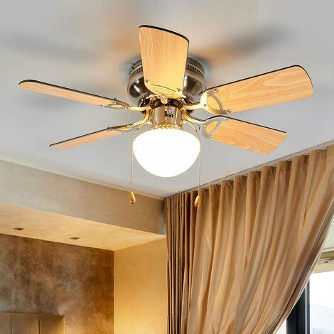 Ventilateur de plafond avec lampe 'Flavio' en bois pour salon & salle à manger
