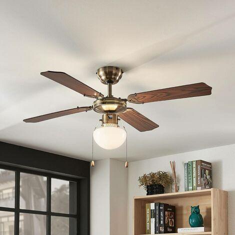 Ventilateur de plafond avec lampe 'Joulin' en bois pour chambre à coucher
