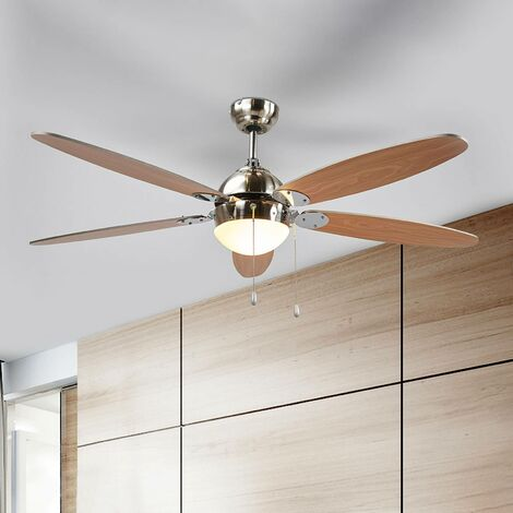 Plafond En Salon De Avec Lampe 'levian' Ventilateur Bois Pour iuXwPZTOkl