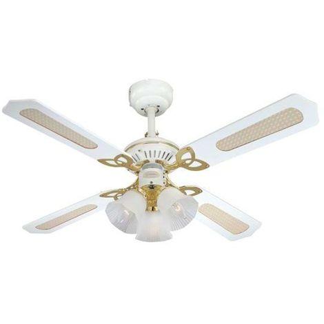 Ventilateur de plafond avec lampe 'Princess' en bois pour salon & salle à manger