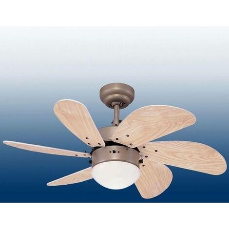 Ventilateur de plafond avec lampe 'Turbo' en bois