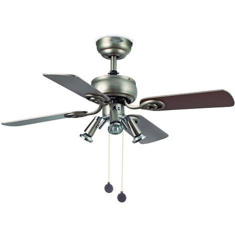 Ventilateur de plafond avec lumière modèle-Galapago-Nickel