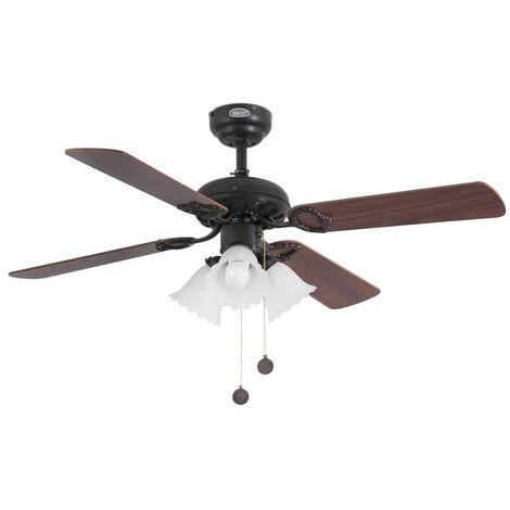 Ventilateur de plafond avec lumière modèle-Lisboa-Brun