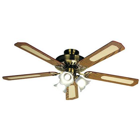 Ventilateur de plafond BALEARES D. 132 cm, 5 pales noyer/cannées noyer 60 W 230 V - 112470 - Fartools - -