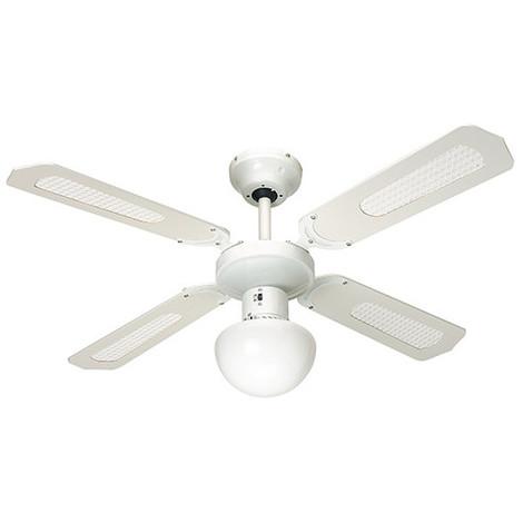 Ventilateur de plafond BALI D. 107 cm 4 pales blanches cannées blanches 50 W 230 V - 112420 - Fartools - -
