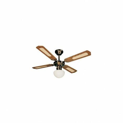 Ventilateur de plafond BALI D. 107 cm 4 pales noyer/cannées noyer 50 W 230 V - 112422 - Fartools - -