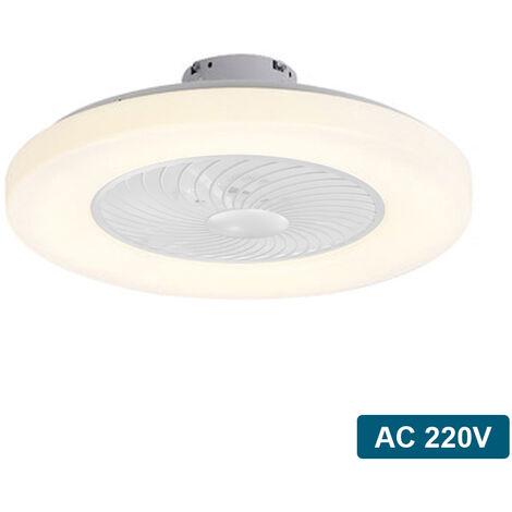Ventilateur De Plafond Blanc Ac 220V, Gradation Tricolore, Force Du Vent A Trois Vitesses, Telecommande Intelligente