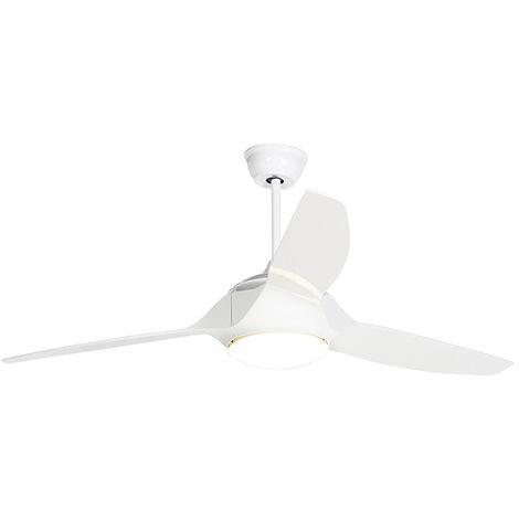Ventilateur de plafond blanc avec LED et télécommande - Marin 56 Qazqa Moderne Luminaire interieur Rond
