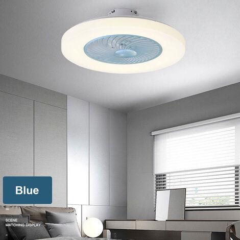 Ventilateur De Plafond Bleu Ac 220V, Gradation Tricolore, Force Du Vent A Trois Vitesses, Telecommande Intelligente