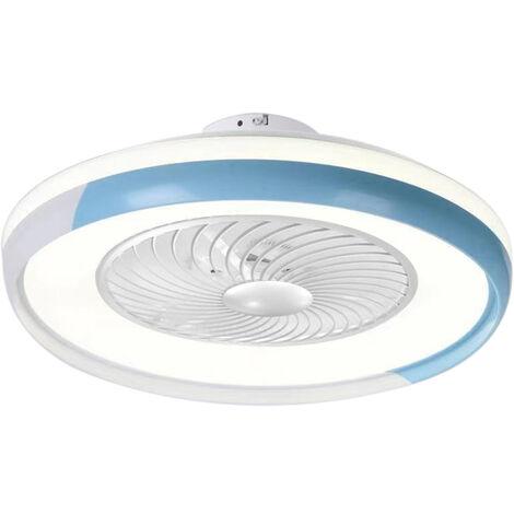 Ventilateur De Plafond Bleu Ac 220V, Gradation Tricolore, Vent A Trois Vitesses Avec Fonction De Guidage Du Vent, Telecommande Intelligente